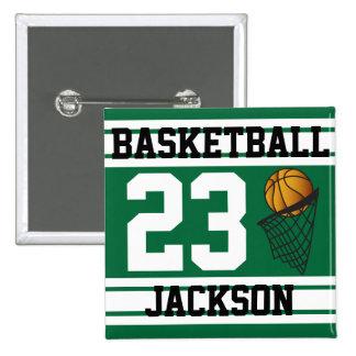 Basketball Dark Green & White Stripes | DIY Text 15 Cm Square Badge