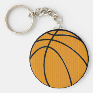 Basketball Design in Classic Orange and Black Basic Round Button Key Ring