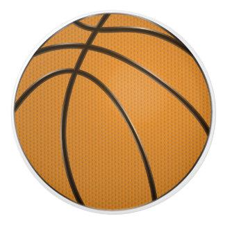 Basketball Design in Classic Orange and Black Ceramic Knob