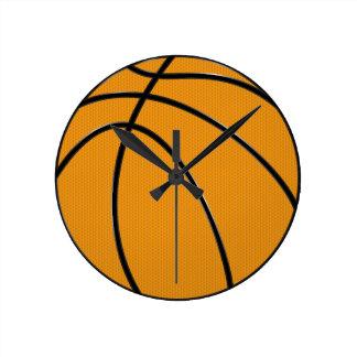 Basketball Design in Classic Orange and Black Round Clock