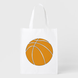 Basketball Design in Traditional Orange and Black Reusable Grocery Bag