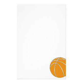 Basketball Design in Traditional Orange and Gray Stationery