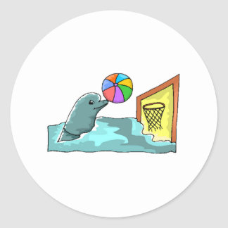 Basketball Dolphin Round Stickers