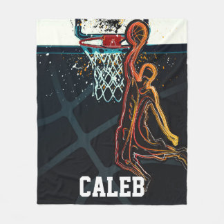 Basketball Dunk Jump Shot Modern Urban Cool Fleece Blanket