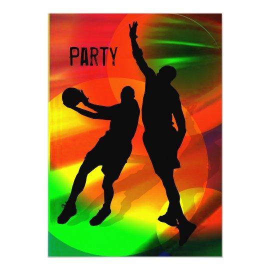 Basketball Duo Bright Court Lights Invite