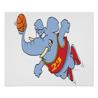 basketball elephant cartoon poster