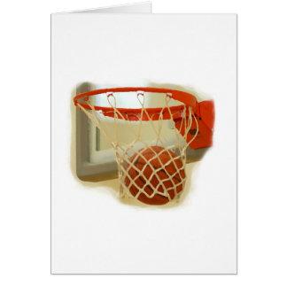 Basketball falling through hoop greeting cards