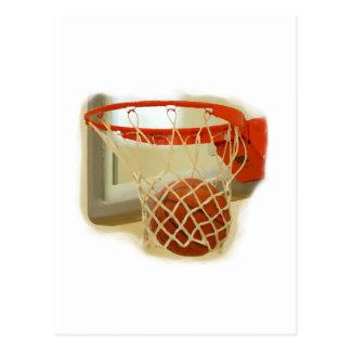 Basketball falling through hoop postcard