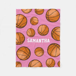 Basketball Fan Custom Name Pink Fleece Blanket