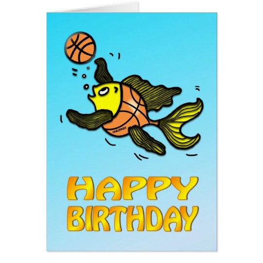 Basketball Fish funny cute cartoon Birthday Card