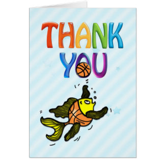 Basketball Fish funny cute cartoon THANK-YOU CARD