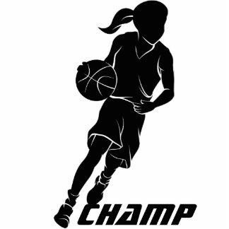 Basketball Girl Dribbling Standing Photo Sculpture