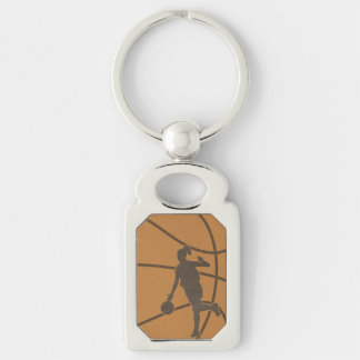 Basketball Girl Sports Woman Photo Key Chain Silver-Colored Rectangle Key Ring