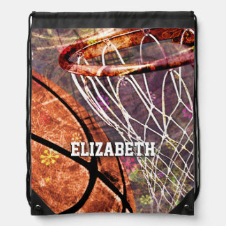 Basketball Girls purple pink her name Drawstring Bag