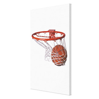 Basketball going through hoop canvas print