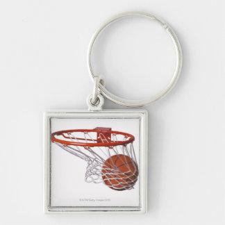 Basketball going through hoop key ring