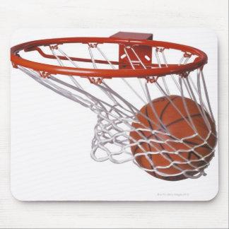 Basketball going through hoop mouse mat