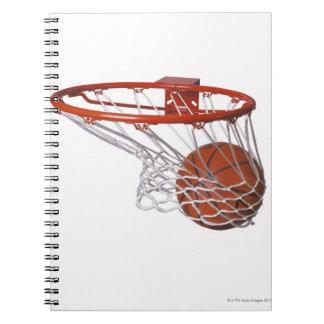 Basketball going through hoop notebook