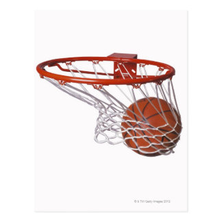 Basketball going through hoop postcard