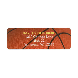 Basketball Golden Personalized Label Return Address Label