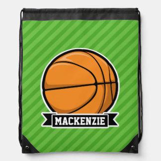 Basketball; Green Stripes Drawstring Bag