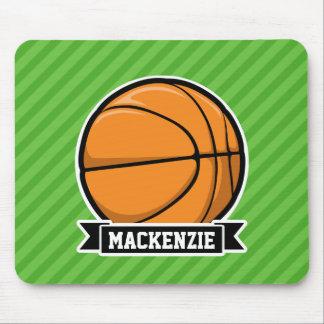 Basketball; Green Stripes Mousepads