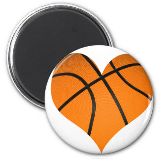 Basketball Heart Shape 6 Cm Round Magnet