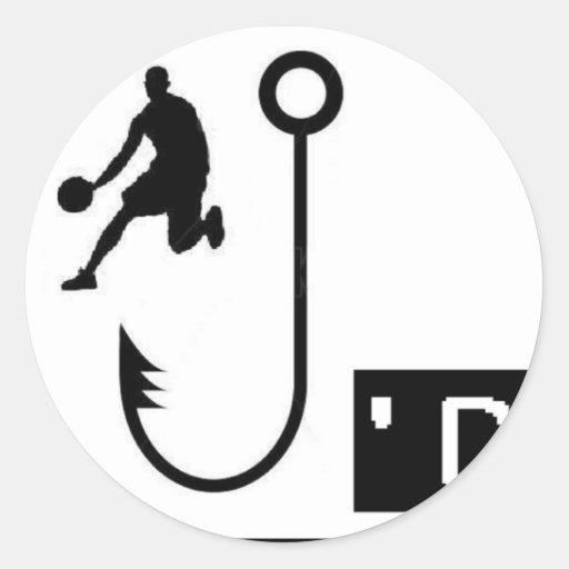 Basketball Hooked Round Sticker