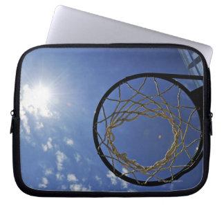 Basketball Hoop and the Sun, against blue sky Computer Sleeves