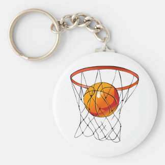 Basketball Hoop Basic Round Button Key Ring