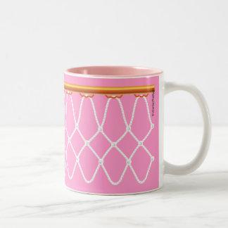 Basketball Hoop Net on pink Two-Tone Coffee Mug