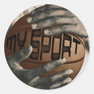 BASKETBALL HUG - MY SPORT - GIFTS ROUND STICKER