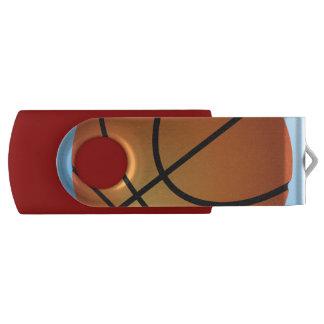 Basketball Icon Blue Background USB Flash Drive