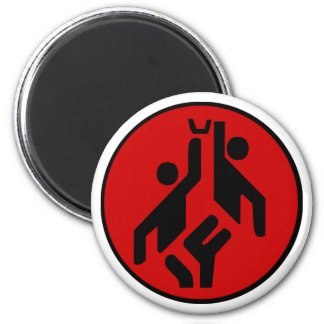 Basketball icon, red and black 6 cm round magnet