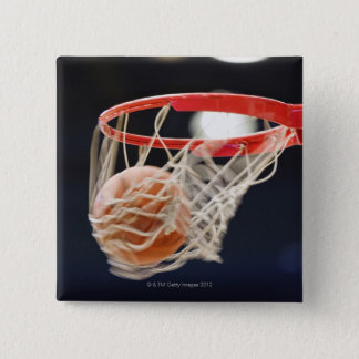 Basketball in basket. 15 cm square badge