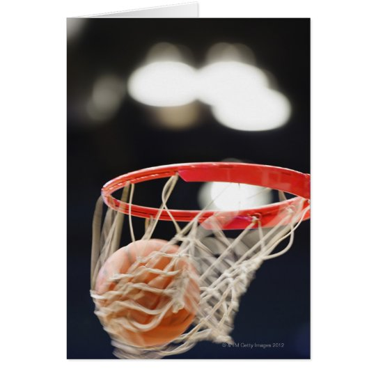 Basketball in basket. card