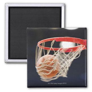 Basketball in basket. square magnet