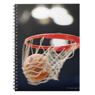 Basketball in basket. notebooks