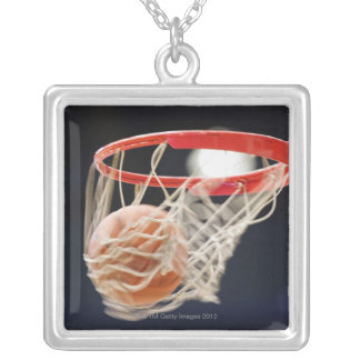 Basketball in basket. silver plated necklace