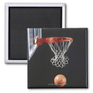Basketball in hoop, close-up 2 square magnet