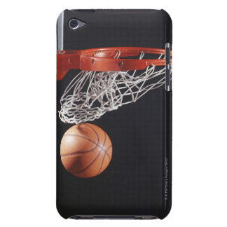 Basketball in hoop, close-up iPod touch case