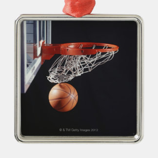 Basketball in hoop, close-up Silver-Colored square decoration