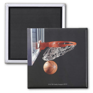 Basketball in hoop, close-up square magnet
