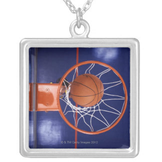 basketball in hoop silver plated necklace