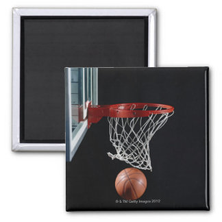 Basketball in Hoop Square Magnet