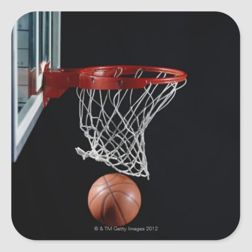 Basketball in Hoop Square Sticker