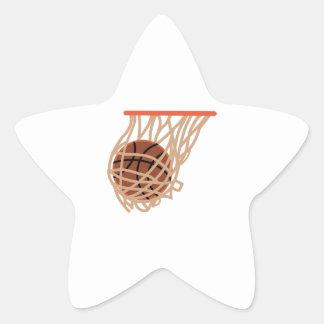 BASKETBALL IN NET STAR STICKER