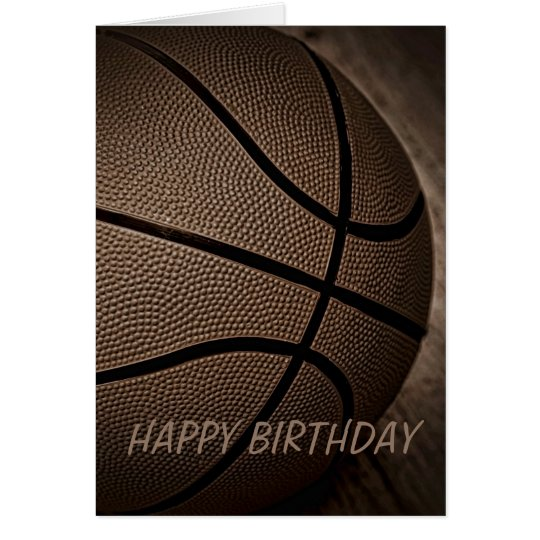 Basketball in Sepia Happy Birthday Card