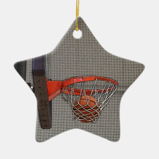Basketball in the Net Ceramic Star Decoration