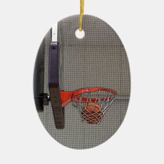 Basketball in the Net Double-Sided Oval Ceramic Christmas Ornament